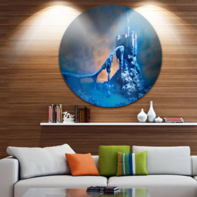 Design Art Old Blue Castle Disc Contemporary Circle Metal Wall Art