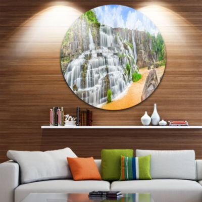 Design Art Pongour Waterfall Disc Photography Circle Metal Wall Art