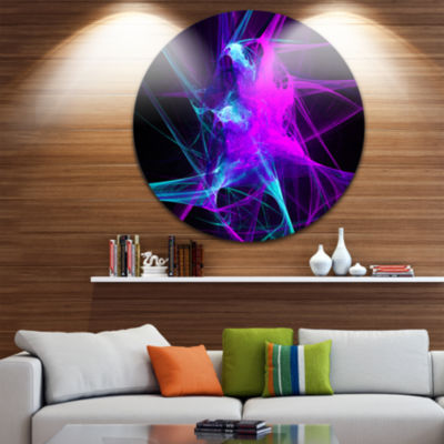 Design Art Purple Glowing Ball of Smoke Abstract Circle Metal Wall Art
