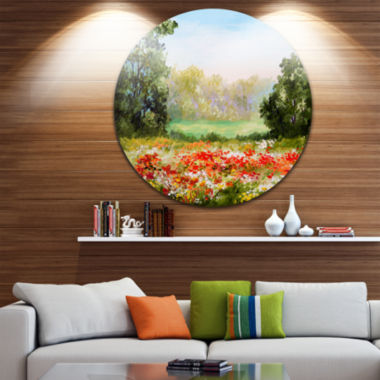 Design Art Poppy Field with Sky Landscape Circle Metal Wall Art