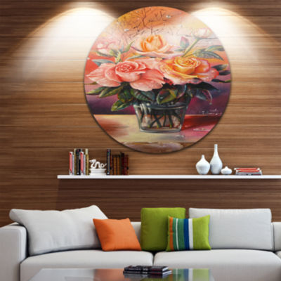 Design Art Roses on Marble Table Disc Floral Circle Metal Wall Art