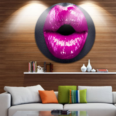 Design Art Purple Lip Makeup Disc Portrait CircleMetal Wall Art