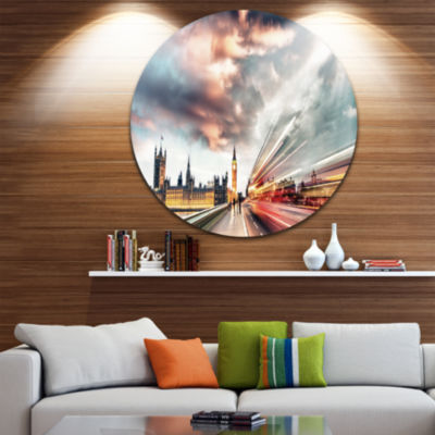 Design Art Night Scene of London City Disc Cityscape Photo Circle Metal Wall Art