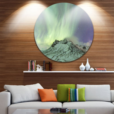 Design Art Northern Light in Iceland Disc Landscape Photo Circle Metal Wall Art