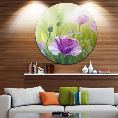 Design Art Purple Poppies in Morning Floral CircleMetal Wall Art