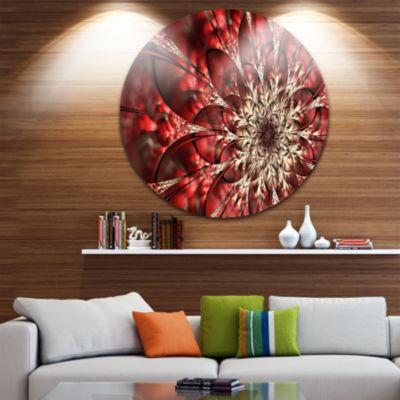 Design Art Red Symmetrical Flowers Pattern Disc Floral Circle Metal Wall Art