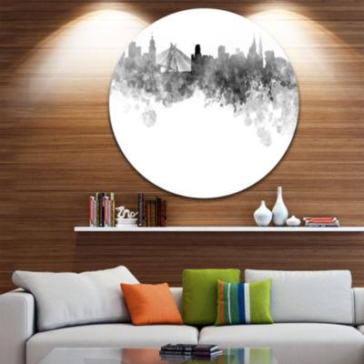 Design Art Sao Paulo Skyline Disc Cityscape MetalArtwork Print