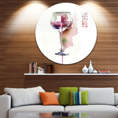 Design Art Red Wine Disc Contemporary Artwork on Circle Metal Wall Art