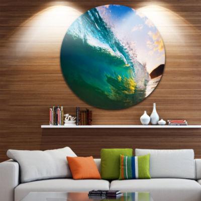 Design Art Ocean Wave at Sunset Disc Photography Circle Metal Wall Art