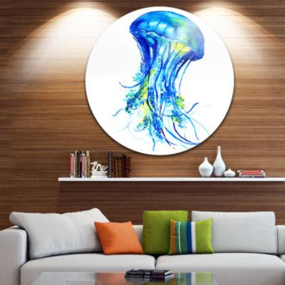 Design Art Ocean Water Jellyfish Disc Animal Circle Metal Wall Art