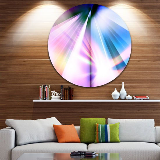 Design Art Rays of Speed Blue Abstract Circle Metal Wall Art