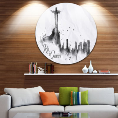 Design Art Rio de Janeiro Silhouette Disc Cityscape Painting Circle Metal Wall Art