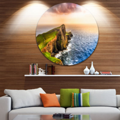 Design Art Ocean Cost at Sunset Disc Photography Circle Metal Wall Art