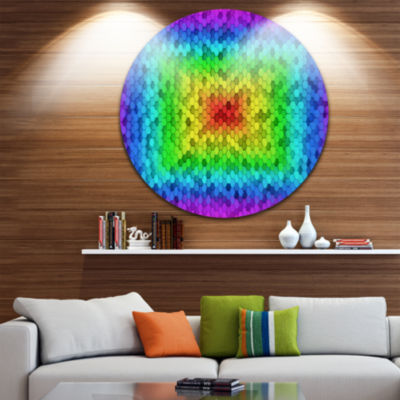 Design Art Random Elevated Hexagon Columns Abstract Art on Round Circle Metal Wall Decor Panel