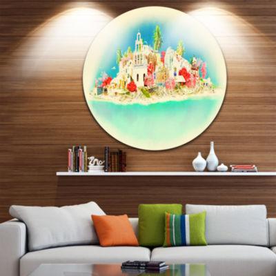 Design Art Santorini Panoramic View Disc CityscapeWatercolor Circle Metal Wall Art