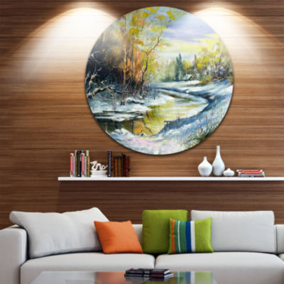 Design Art River in the Spring Woods Landscape Circle Metal Wall Art