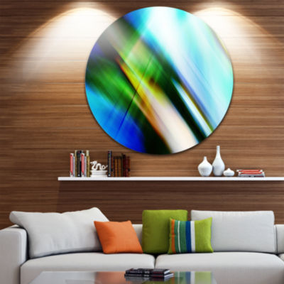 Design Art Rays of Speed Blue Green Abstract Circle Metal Wall Art