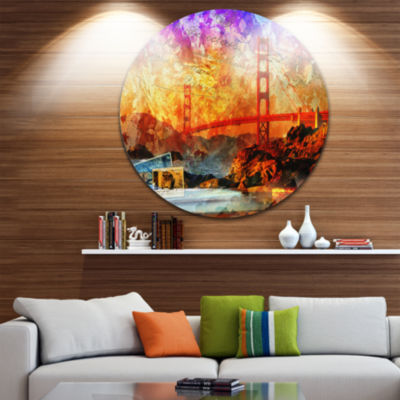 Design Art San Francisco Bridge Disc ContemporaryCircle Metal Wall Art