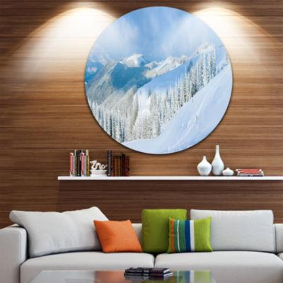 Design Art Panoramic Winter Mountain Disc Landscape Photography Circle Metal Wall Art