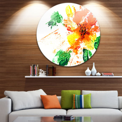 Design Art Painted Abstract Flower Disc Floral Circle Metal Wall Art