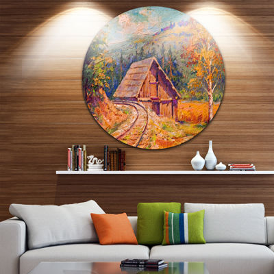 Design Art Railway Track in Village Landscape Circle Metal Wall Art