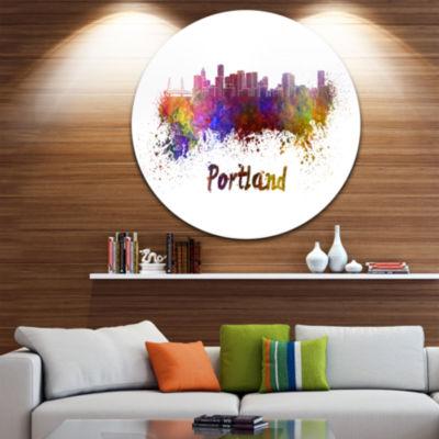 Design Art Portland Skyline Disc Cityscape Metal Artwork Print