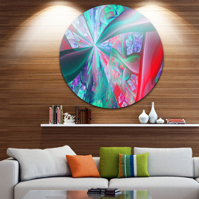 Design Art Red Blue Fractal Exotic Plant Stems Abstract Round Circle Metal Wall Art