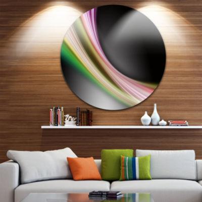 Design Art Pink Green Abstract Lines Abstract Circle Metal Wall Art
