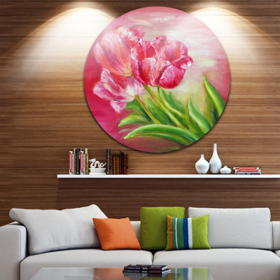 Design Art Red Tulips in Red Background Floral Circle Metal Wall Art