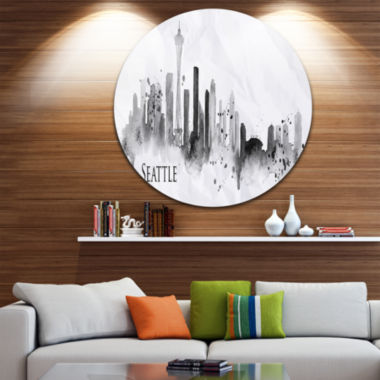 Design Art Seattle Black Silhouette Disc CityscapePainting Circle Metal Wall Art