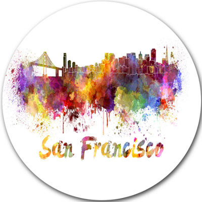 Design Art San Francisco Skyline Disc Cityscape Metal Artwork Print