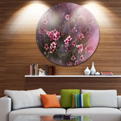 Design Art Sakura Japanese Cherry Disc PhotographyFloral Circle Metal Wall Art