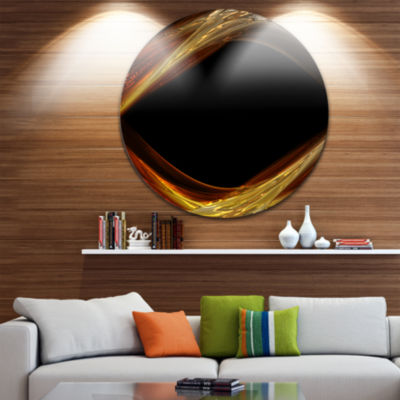 Design Art Red Golden Shapes in Black Abstract Circle Circle Metal Wall Art