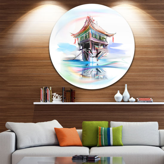 Design Art Pagoda in Vietnam Disc Abstract CircleMetal Wall Art