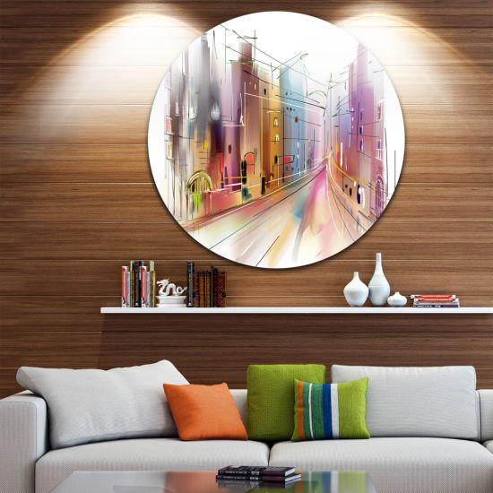 Design Art Road in City Illustration Art Disc Cityscape Circle Metal Wall Art
