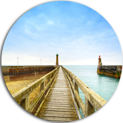 Design Art Pier and Lighthouse France Seascape Circle Metal Wall Art