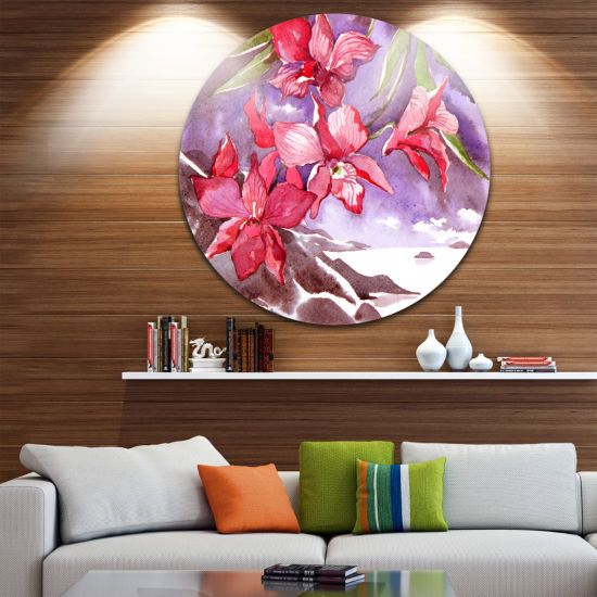 Design Art Red Orchid with Sea Floral Circle MetalWall Art