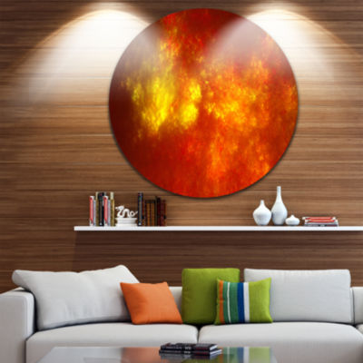 Design Art Orange Starry Fractal Sky Abstract Round Circle Metal Wall Decor