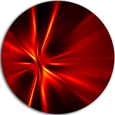 Design Art Red and Yellow Rays Abstract Circle Metal Wall Art