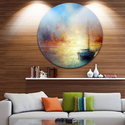 Design Art Seascape Pier Seascape Circle Metal Wall Art