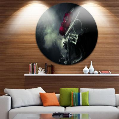 Design Art Post Apocalyptic Survivor Abstract Portrait Circle Metal Wall Art