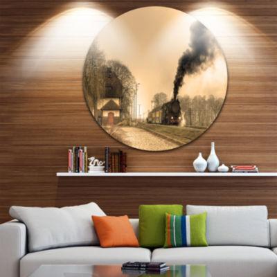 Design Art Retro Steam Train Disc Landscape Photography Circle Metal Wall Art