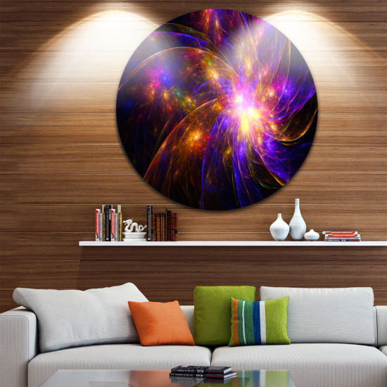 Design Art Purple Fractal Star Pattern Abstract Round Circle Metal Wall Decor