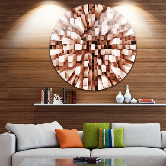Design Art Reflective Checkered Cube Disc Contemporary Art Print on Circle Metal Wall Art
