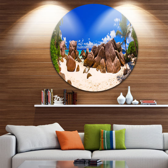 Design Art Rocky Tropical Beach Panorama Disc Landscape Photography Circle Metal Wall Art