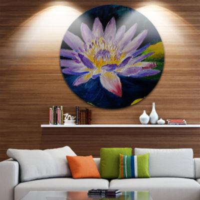 Design Art Purple Lotus Flower Floral Metal CircleWall Art