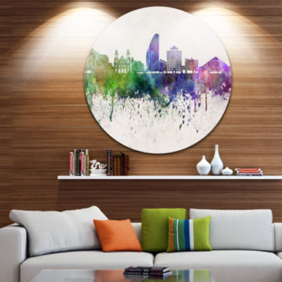 Design Art San Jose Skyline Disc Cityscape Metal Artwork Print
