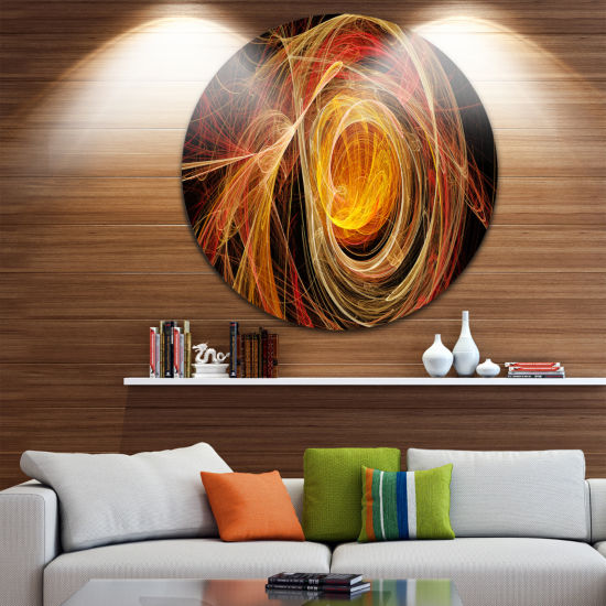 Design Art Orange Ball of Yarn Disc Abstract Circle Metal Wall Art