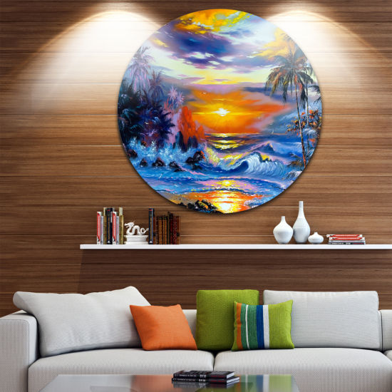 Design Art Sea in the Evening Landscape Circle Metal Wall Art