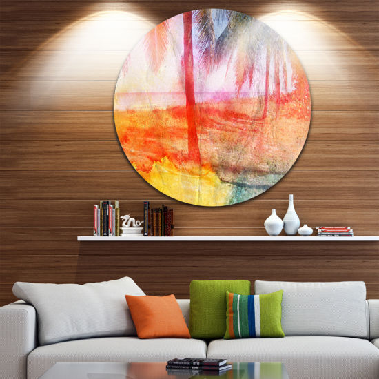 Design Art Red Retro Palm Trees Landscape PaintingCircle Metal Wall Art